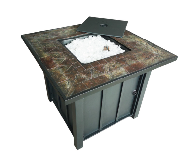 "30"" Square Tile Top Fire Pit With Fire Glass Propane Operated"