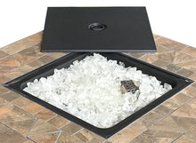 "Load image into Gallery viewer, 30"" Square Tile Top Fire Pit With Fire Glass Propane Operated"