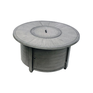 Brushed Wood-Look Round Propane Fire Pit