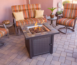 Slate top square propane fire pit