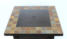 Load image into Gallery viewer, Square bronzed fire pit with slate top and lid