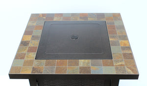 Square bronzed fire pit with slate top and lid