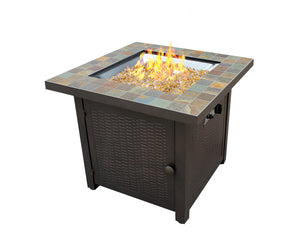 Square bronzed steel fire pit with slate top