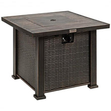 "Load image into Gallery viewer, Wicker & Wood Look 30"" Square Propane Gas Fire Pit Table"