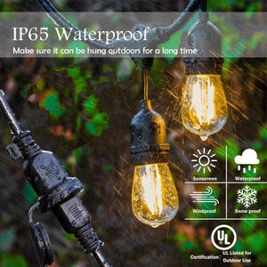 19.5FT LED Outdoor Waterproof Globe String Lights Bulbs