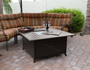 Square Patio Coffee Table Fire Pit