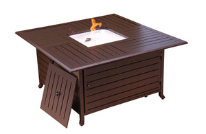 Square Extruded Aluminum Propane Firepit with Lid in Bronze