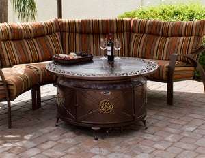 Round Ornate Scroll Bronze Fire Pit Table