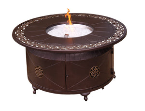 Ornate Scroll Round Bronze Fire pit table