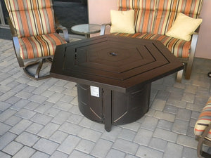Bronze hexagon propane fire pit coffee table