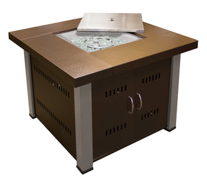 Hammered Bronze Square Fire Pit with Stainless Steel Legs and Lid