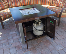 Load image into Gallery viewer, Hammered Bronze Square Fire Pit with Stainless Steel Legs and Lid