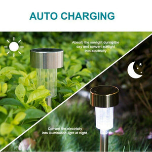 10pcs Garden Outdoor Stainless Steel LED Solar Landscape Path Lights Yard Lamp