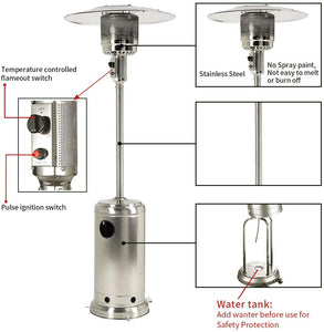 48,000 BTU Propane Patio Heater Dark Brown or Silver Finish