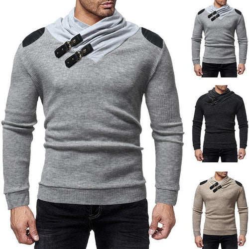 Solid Color Buckle Stitching Slim Sweater