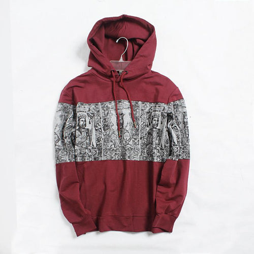 King Warrior Pattern Loose Hooded Long Sleeve Hoodie Jacket