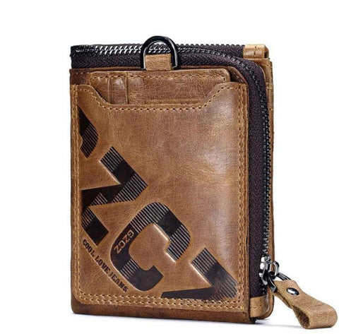 Men's leather retro short wallet purse