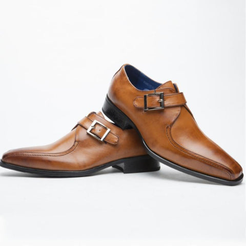 Men's casual buckle leather shoes