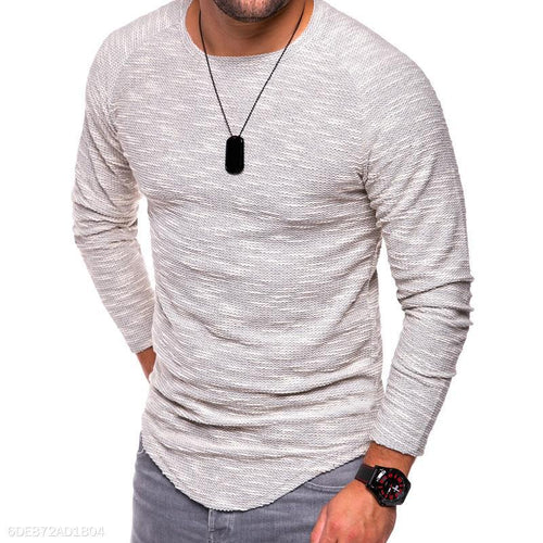 Fashion Round Collar Slim Fit Long Sleeve Shirt