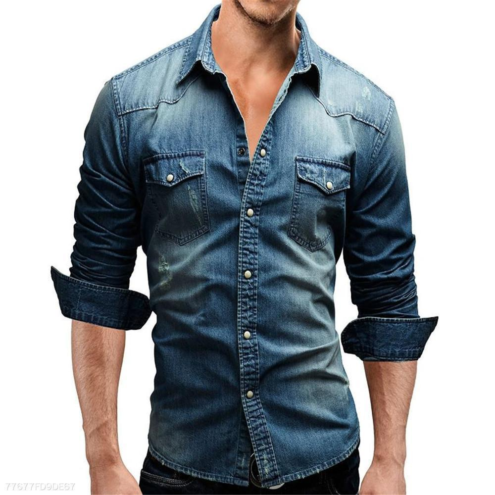 Fashion Youth Casual Sport Slim Plain Denim Button  Shirt Top