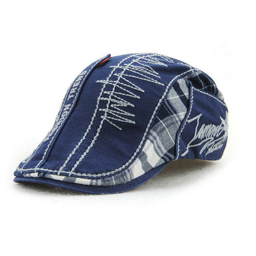 New letter embroidery cap stitching plaid cotton hat Korean men's and women's cap