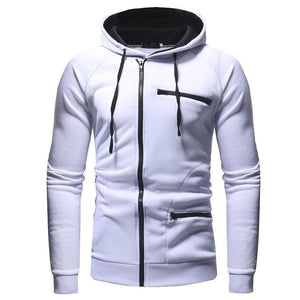 Men's Solid Color Sports And Leisure Cardigan Hoodie