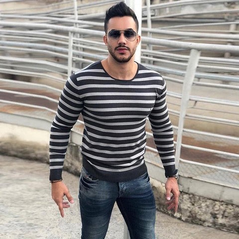 Best Seller Striped Crew Neck Long Sleeve T-Shirt