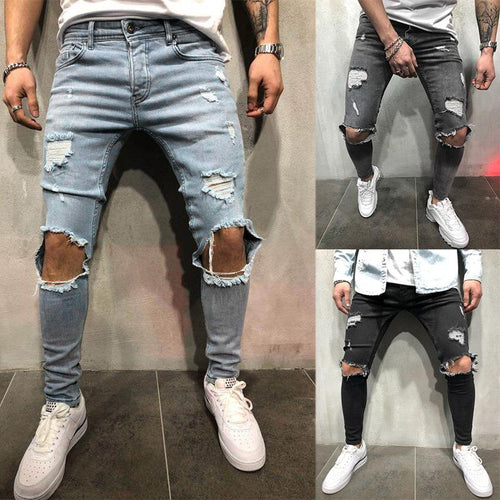 Newly Men's Slim Fit Skinny Stretch Denim Trousers Pants