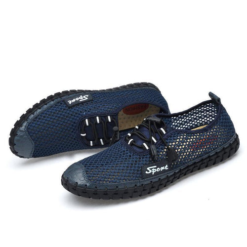 Large Size Men Mesh Fabric Hand Stitching Soft Sole Casual Shoes