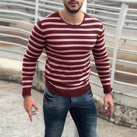 Fashion Round Collar Stripe Slim Knit Shirt
