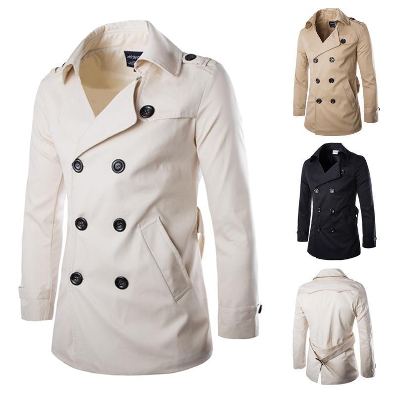 Fashion Plain Double Button Cotton Long  Coat