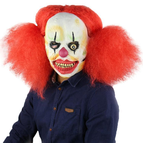 Halloween Red Hair Big Mouse Clown Mask