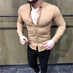 Business Fashion Slim Plain Button V Collar Long Sleeve Shirt