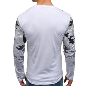 Fashion Round Collar Printed Slim Shirt