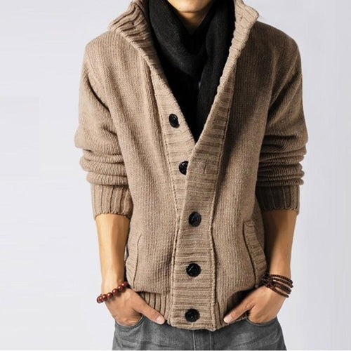 Casual Lapel Collar Plain Button Coarse Sweater