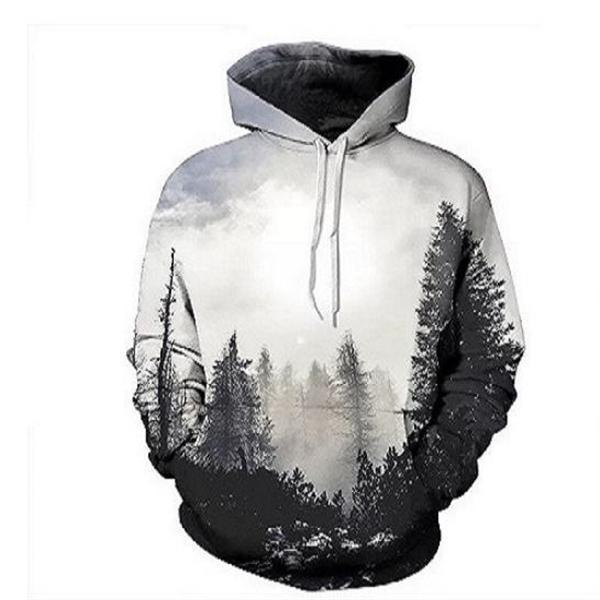 Fashion Casual Loose Landscape Print Long Sleeve Men Hoodie