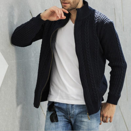 Men's Casual Fashion Youth Twist Collar And Velvet Sweater