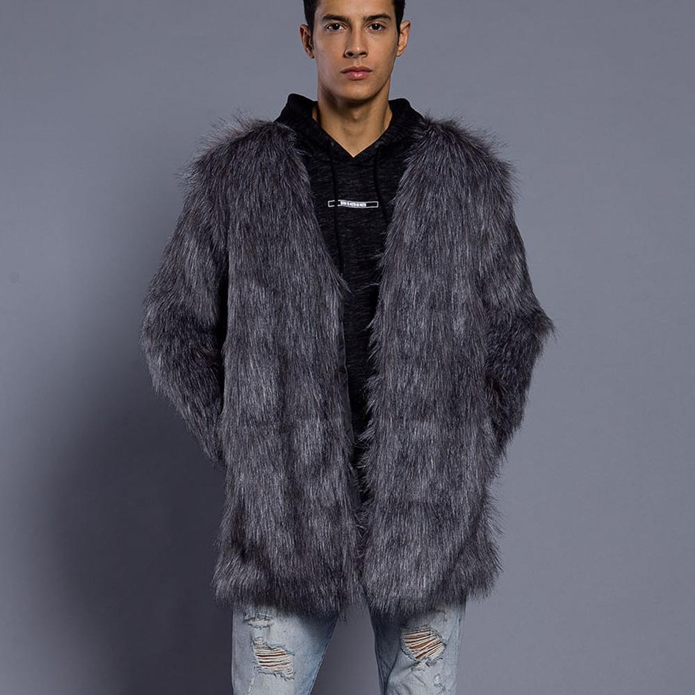 Winter Faux Fur Plain Loose Fashion Coat