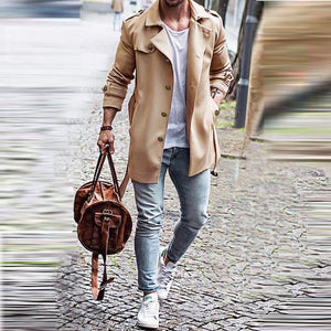 Spring New Slim Men's Coat In The Long Trench Coat