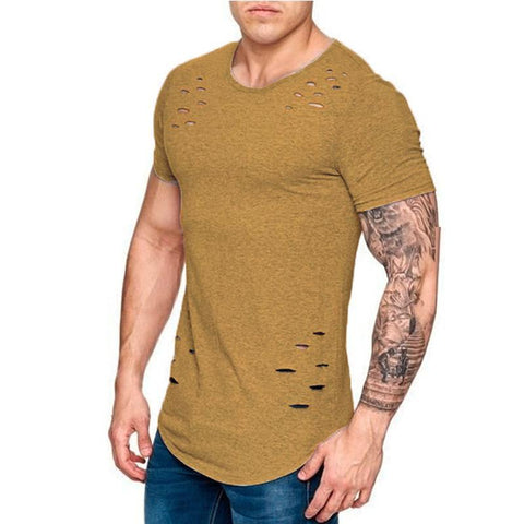 Men's Loose Solid Color T-Shirt   Hole Big Size Men And Women