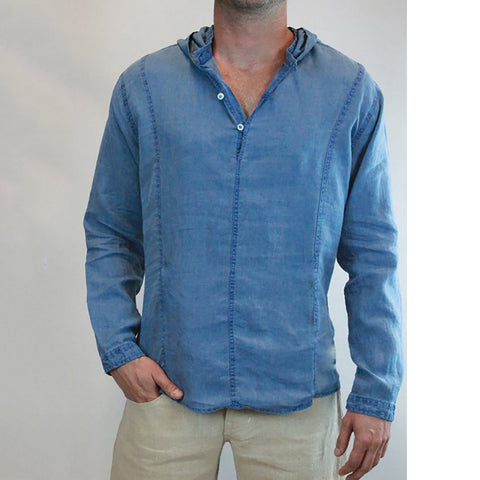 Male Personality Style Solid   Color Cotton Shirt