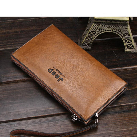 Long New Wave Men's Clutch Bag Soft Leather Zipper Youth Clutch Bag