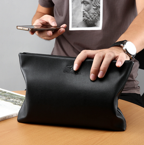Soft leather large-capacity envelope bag clutch