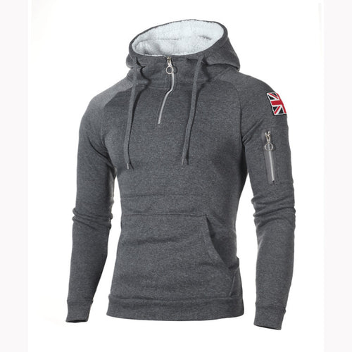 Plus Velvet Zipper High Collar Slim Hoodie