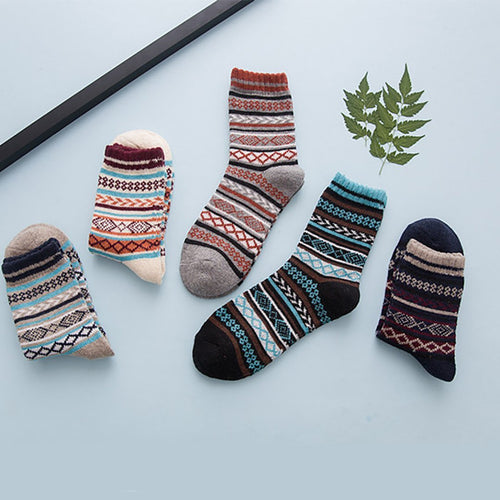 Retro rabbit wool high-end national style warm socks