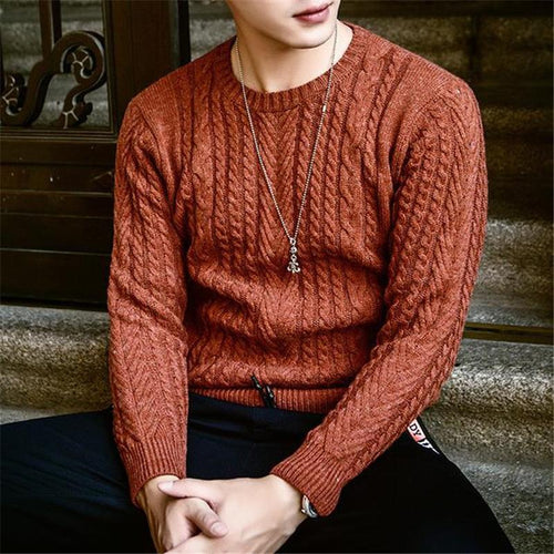 Fashion Mens Round Neck Long Sleeve Sweater