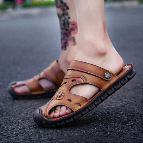 Men's leather soft bottom beach sandals