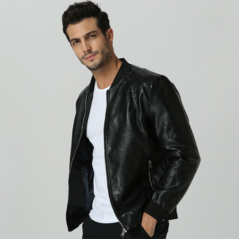 New Spring And Autumn Men S Leather Slim Casual Leather Jacket