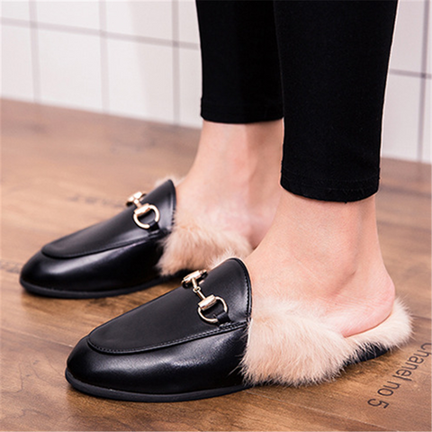 Couple models really hair British wind casual slippers
