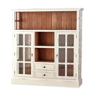 Cape Cod Kitchen Cupboard W/ Drawers - White Distressed
